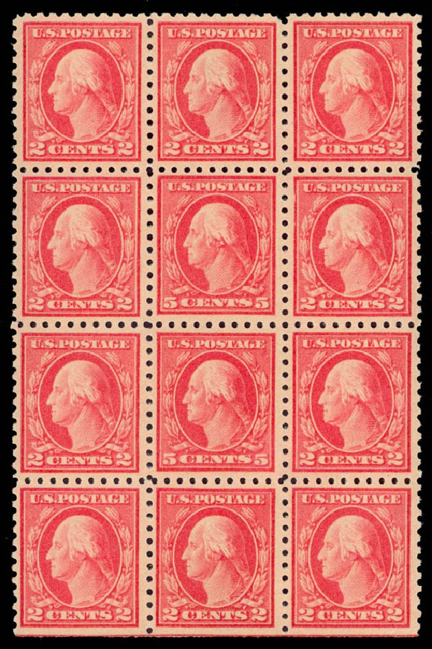 US Stamps Price Scott Catalog # 467: 1917 5c Washington Perf 10 error. Daniel Kelleher Auctions, May 2015, Sale 669, Lot 3055