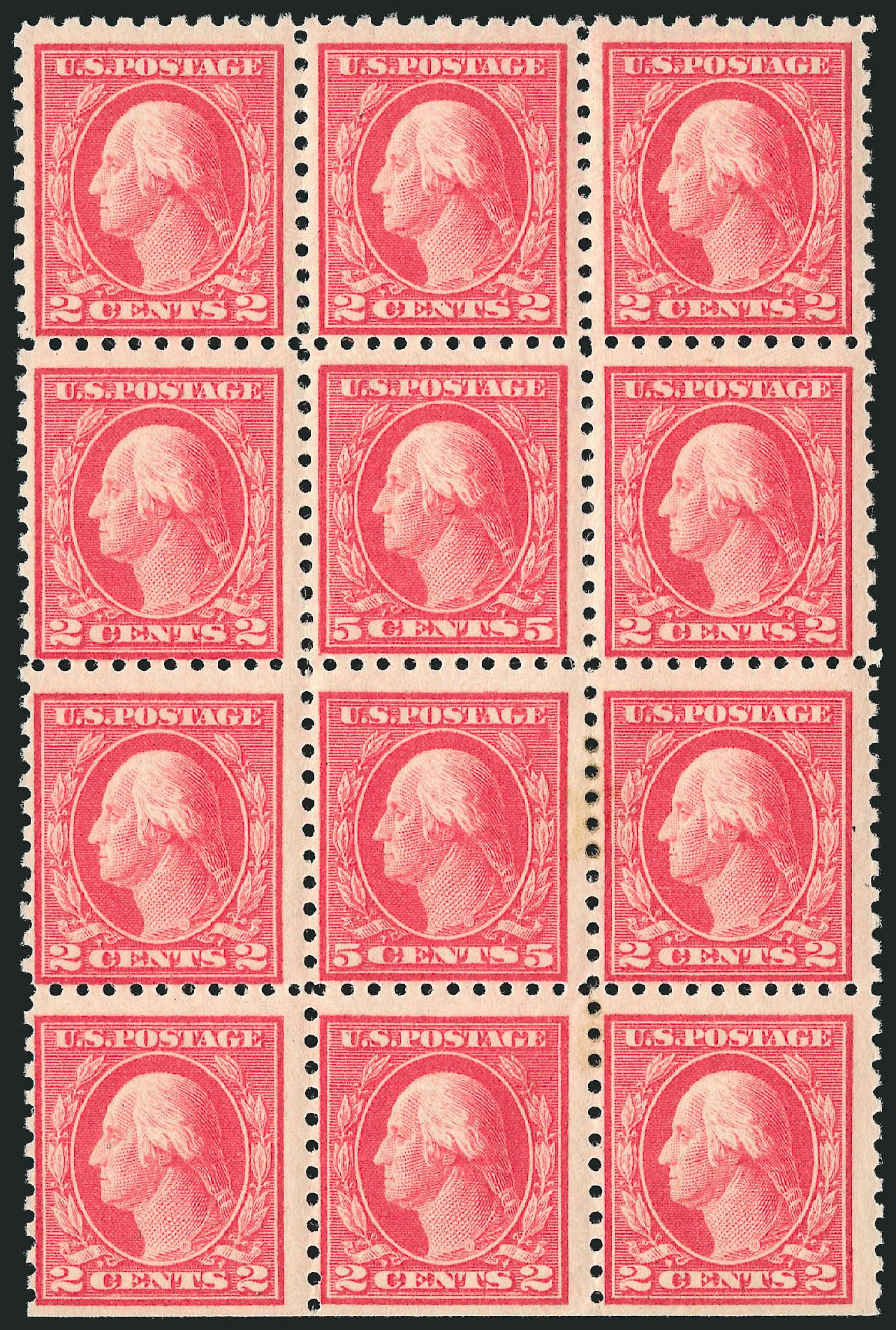 US Stamps Values Scott 467 - 1917 5c Washington Perf 10 error. Robert Siegel Auction Galleries, Apr 2015, Sale 1096, Lot 716