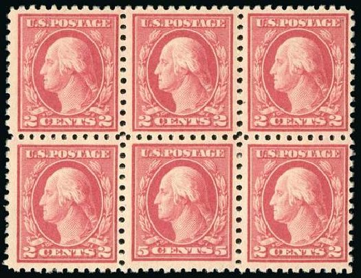 US Stamps Values Scott Cat. #467 - 1917 5c Washington Perf 10 error. Spink Shreves Galleries, Jul 2015, Sale 151, Lot 306