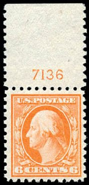 US Stamp Value Scott Cat. #468: 1916 6c Washington Perf 10. Schuyler J. Rumsey Philatelic Auctions, Apr 2015, Sale 60, Lot 2827
