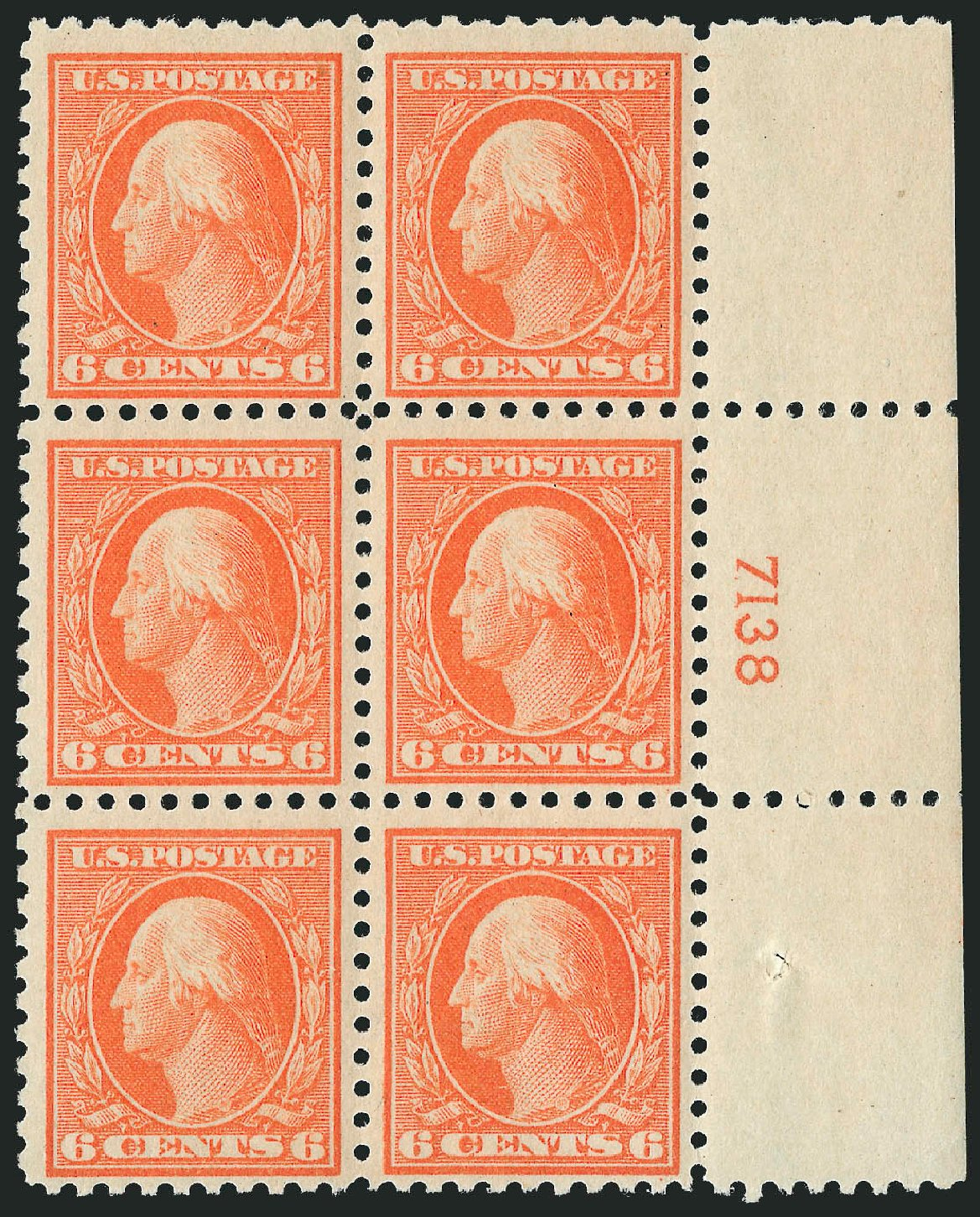 Value of US Stamp Scott Catalogue 468 - 6c 1916 Washington Perf 10. Robert Siegel Auction Galleries, Sep 2014, Sale 1078, Lot 547