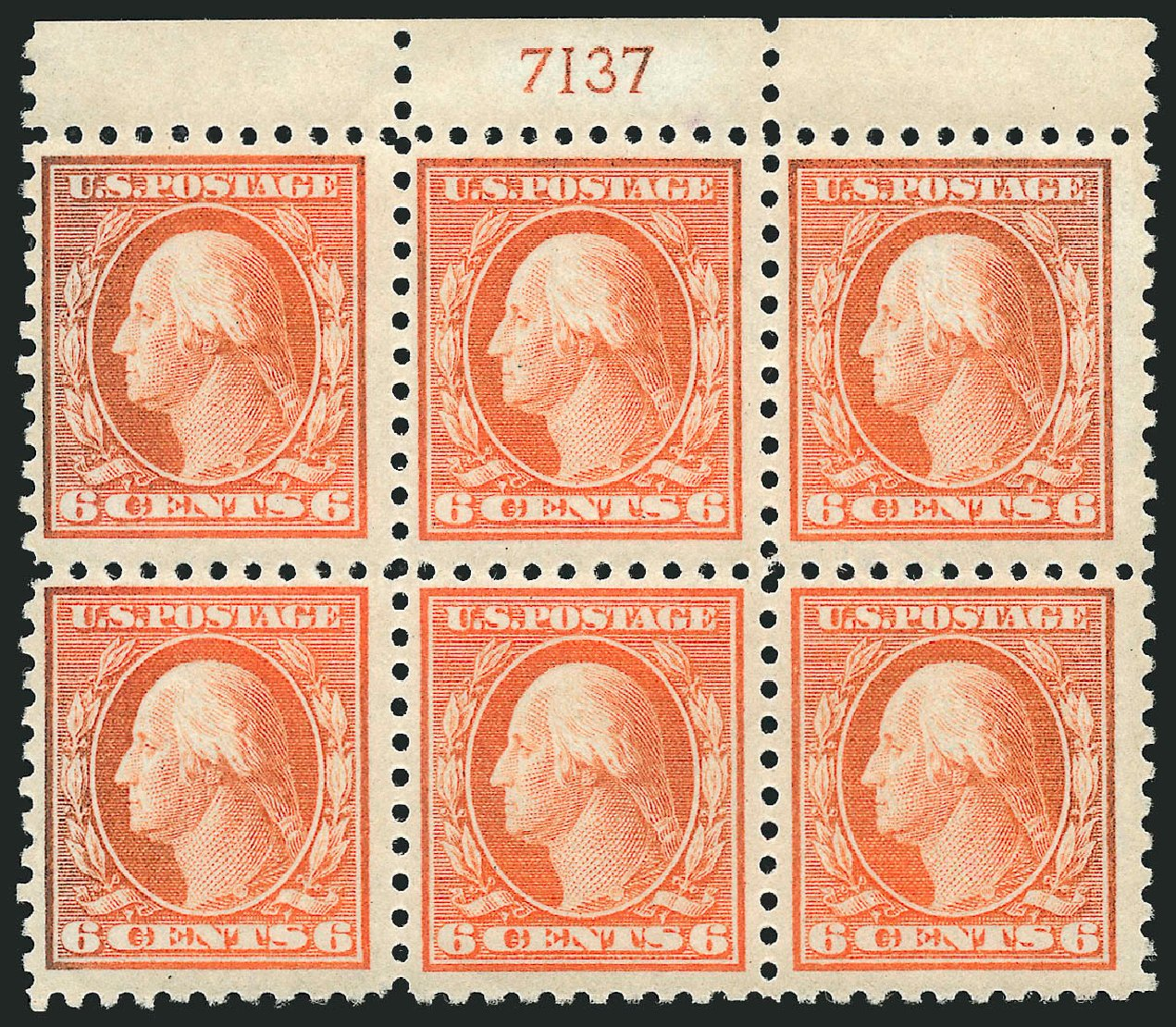 US Stamp Value Scott 468: 6c 1916 Washington Perf 10. Robert Siegel Auction Galleries, Feb 2015, Sale 1093, Lot 390