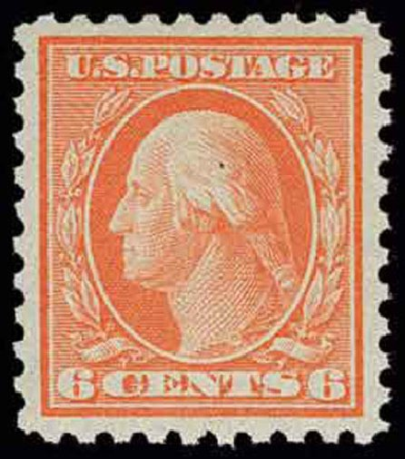 US Stamps Values Scott 468: 6c 1916 Washington Perf 10. H.R. Harmer, Nov 2013, Sale 3004, Lot 1275