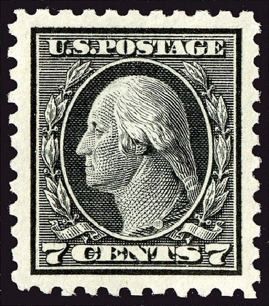 US Stamps Values Scott Cat. #469: 1916 7c Washington Perf 10. Spink Shreves Galleries, Jan 2014, Sale 146, Lot 429