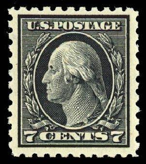 US Stamp Values Scott Cat. # 469 - 7c 1916 Washington Perf 10. Daniel Kelleher Auctions, Dec 2012, Sale 633, Lot 836