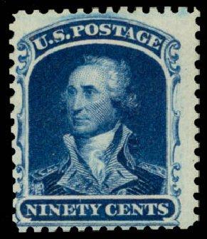 Values of US Stamp Scott 47 - 90c 1875 Washington Reprint. Daniel Kelleher Auctions, Sep 2014, Sale 655, Lot 197