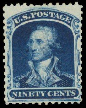 US Stamps Value Scott Catalog 47 - 1875 90c Washington Reprint. Daniel Kelleher Auctions, May 2015, Sale 669, Lot 2487