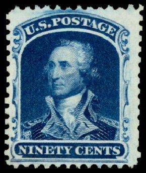 US Stamps Price Scott # 47: 1875 90c Washington Reprint. Daniel Kelleher Auctions, Apr 2013, Sale 636, Lot 90