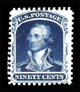US Stamp Values Scott Catalogue 47: 90c 1875 Washington Reprint. Cherrystone Auctions, Apr 2014, Sale 201404, Lot 31