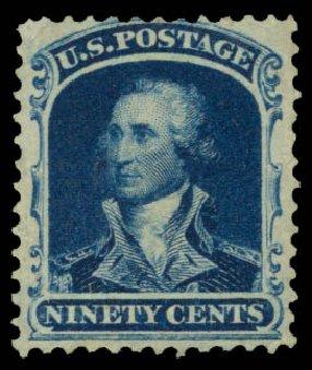 Values of US Stamps Scott Catalogue # 47: 90c 1875 Washington Reprint. Daniel Kelleher Auctions, Mar 2014, Sale 650, Lot 2524