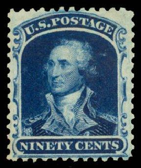 US Stamp Price Scott Catalog # 47 - 90c 1875 Washington Reprint. Daniel Kelleher Auctions, Aug 2015, Sale 672, Lot 2244