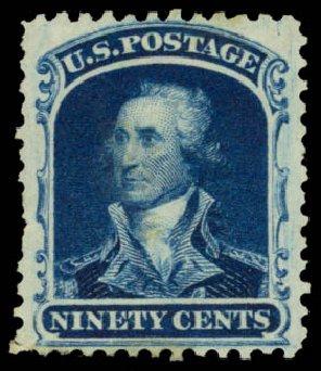 Value of US Stamp Scott # 47 - 1875 90c Washington Reprint. Daniel Kelleher Auctions, Dec 2014, Sale 661, Lot 82