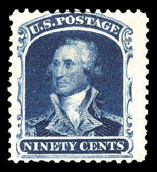 Values of US Stamp Scott Catalogue # 47 - 90c 1875 Washington Reprint. Cherrystone Auctions, Jan 2010, Sale 201001, Lot 56