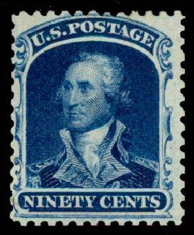 US Stamps Values Scott 47 - 90c 1875 Washington Reprint. Daniel Kelleher Auctions, Sep 2013, Sale 639, Lot 3166