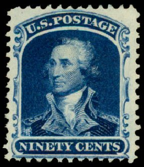 Value of US Stamp Scott Catalog #47 - 1875 90c Washington Reprint. Daniel Kelleher Auctions, May 2015, Sale 669, Lot 2486