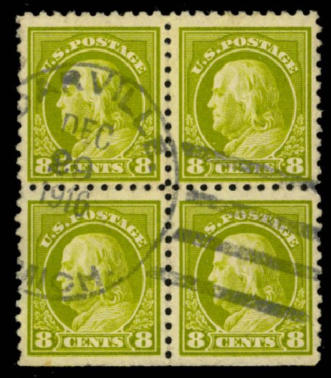 Values of US Stamp Scott Cat. 470 - 8c 1916 Franklin Perf 10. Daniel Kelleher Auctions, Sep 2014, Sale 655, Lot 517