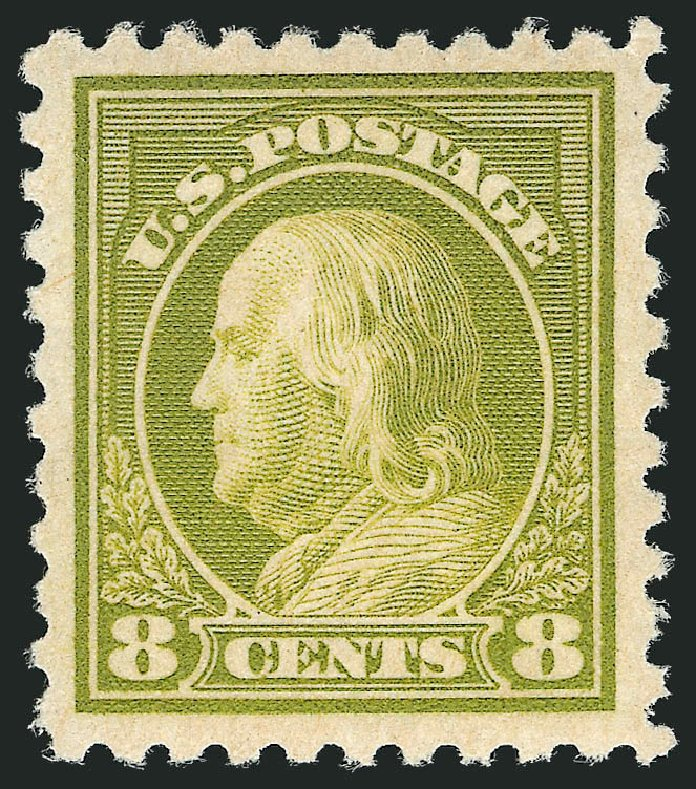 US Stamp Values Scott Catalog #470: 1916 8c Franklin Perf 10. Robert Siegel Auction Galleries, Dec 2012, Sale 1037, Lot 2075
