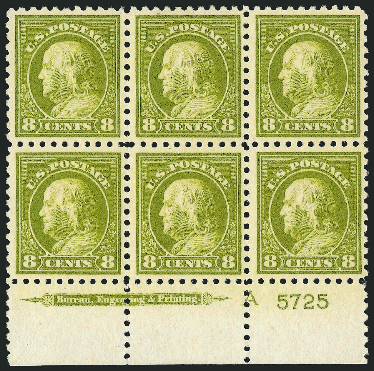 US Stamps Prices Scott Catalog 470: 8c 1916 Franklin Perf 10. Robert Siegel Auction Galleries, Jul 2014, Sale 1077, Lot 285