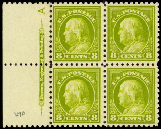 Cost of US Stamp Scott 470: 1916 8c Franklin Perf 10. Daniel Kelleher Auctions, Jan 2015, Sale 663, Lot 1816
