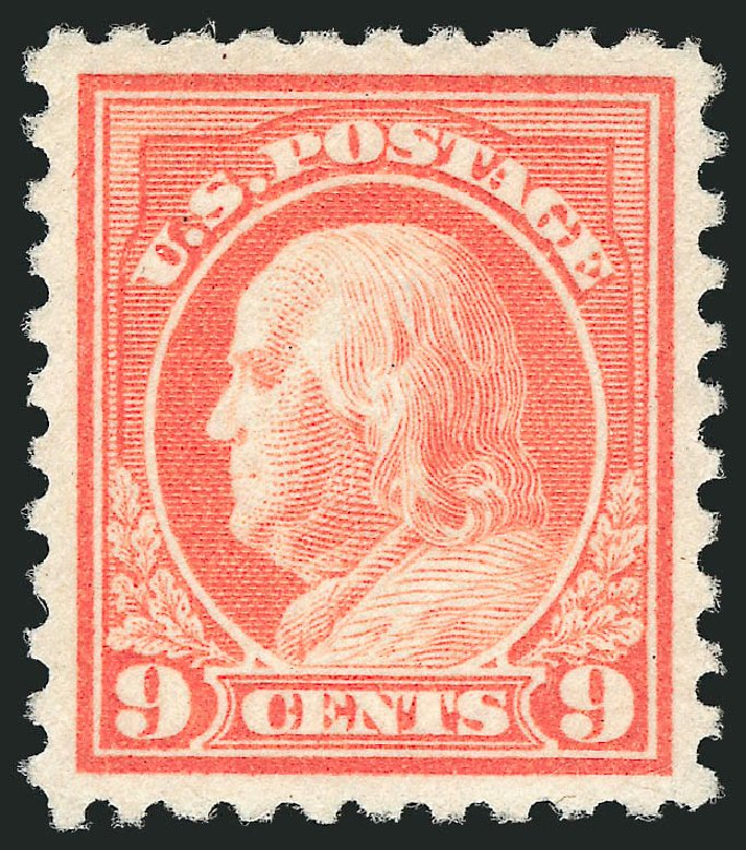 US Stamps Value Scott Catalog # 471: 1916 9c Franklin Perf 10. Robert Siegel Auction Galleries, Dec 2014, Sale 1090, Lot 1537