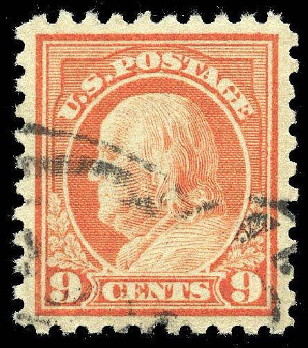 US Stamp Price Scott Cat. 471 - 1916 9c Franklin Perf 10. Matthew Bennett International, May 2014, Sale 350, Lot 618
