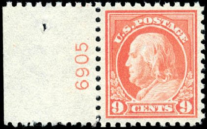 Values of US Stamp Scott #471 - 1916 9c Franklin Perf 10. Schuyler J. Rumsey Philatelic Auctions, Apr 2015, Sale 60, Lot 2828