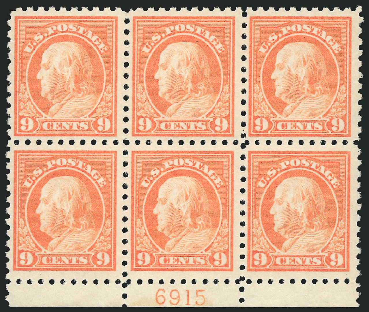 US Stamps Price Scott Cat. #471 - 1916 9c Franklin Perf 10. Robert Siegel Auction Galleries, Sep 2014, Sale 1078, Lot 548