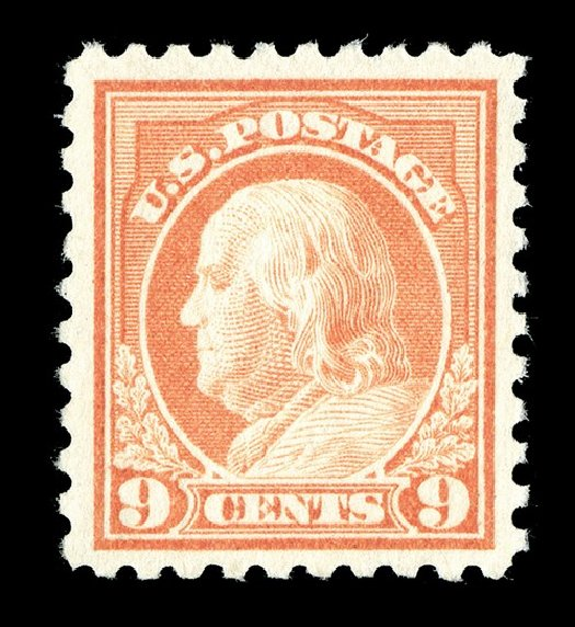 Cost of US Stamps Scott Catalog #471: 1916 9c Franklin Perf 10. Spink Shreves Galleries, May 2014, Sale 148, Lot 321
