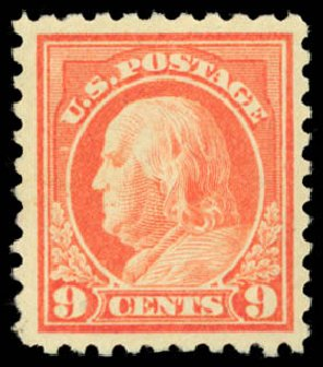 Prices of US Stamps Scott Catalogue #471: 9c 1916 Franklin Perf 10. Daniel Kelleher Auctions, Dec 2014, Sale 661, Lot 383