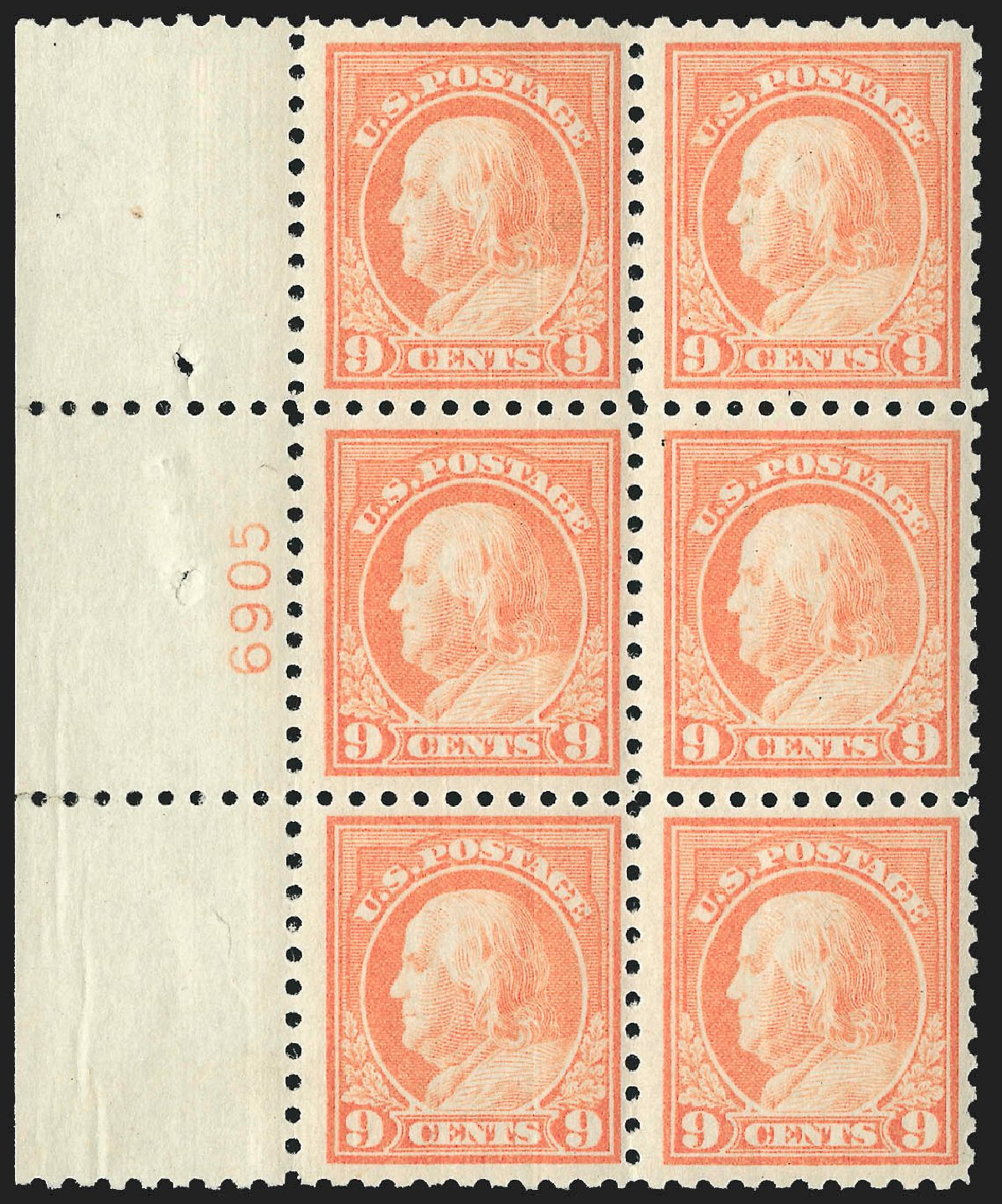US Stamp Values Scott Catalogue 471: 9c 1916 Franklin Perf 10. Robert Siegel Auction Galleries, Jul 2015, Sale 1107, Lot 483