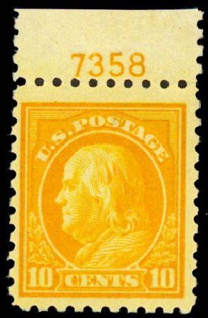 Values of US Stamps Scott Catalogue 472: 1916 10c Franklin Perf 10. Daniel Kelleher Auctions, May 2015, Sale 669, Lot 3057