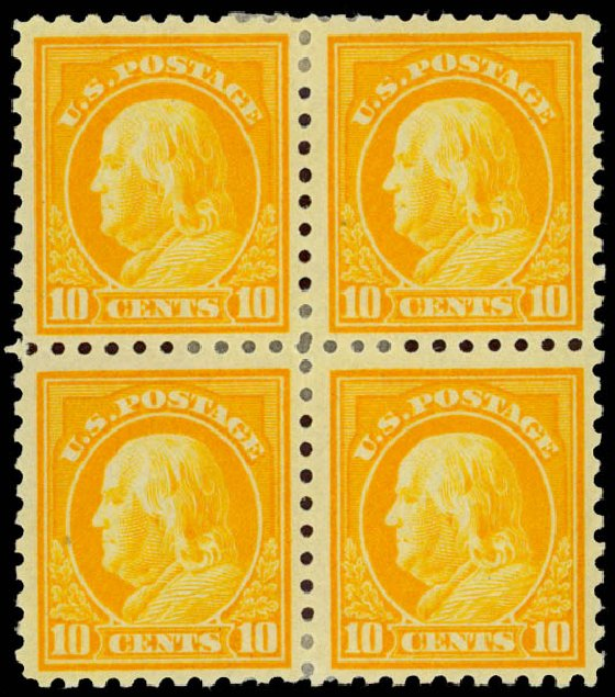 US Stamps Price Scott Catalog 472 - 1916 10c Franklin Perf 10. Daniel Kelleher Auctions, Jan 2015, Sale 663, Lot 1818
