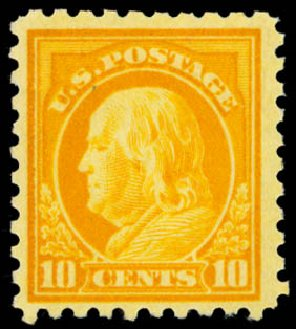 Values of US Stamps Scott Cat. # 472: 10c 1916 Franklin Perf 10. Daniel Kelleher Auctions, Dec 2014, Sale 661, Lot 384