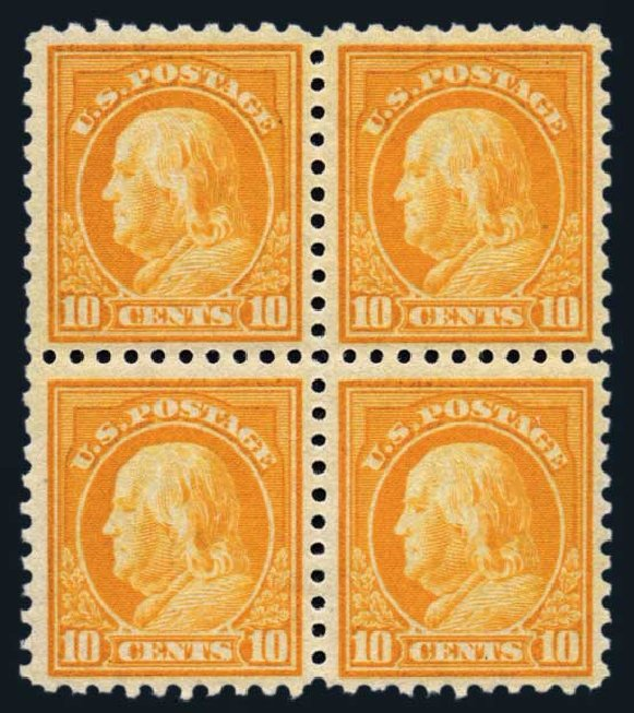 Values of US Stamp Scott #472 - 1916 10c Franklin Perf 10. Harmer-Schau Auction Galleries, Aug 2014, Sale 102, Lot 2035