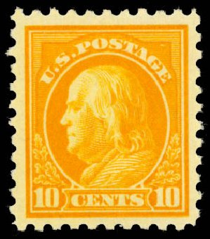 Values of US Stamp Scott Catalog # 472: 10c 1916 Franklin Perf 10. Daniel Kelleher Auctions, Aug 2015, Sale 672, Lot 2753