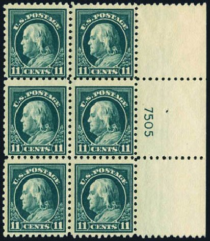 US Stamps Value Scott Catalog # 473: 11c 1916 Franklin Perf 10. Harmer-Schau Auction Galleries, May 2013, Sale 97, Lot 390