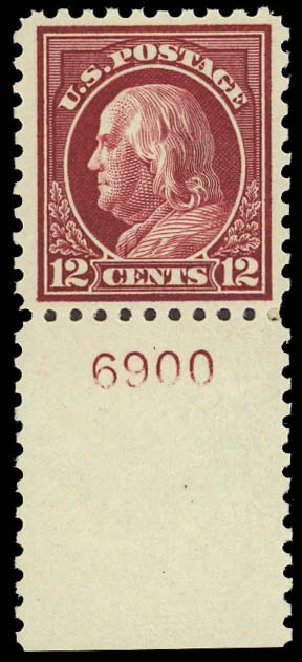 Price of US Stamp Scott Catalog 474 - 1916 12c Franklin Perf 10. Daniel Kelleher Auctions, Jun 2012, Sale 630, Lot 1857