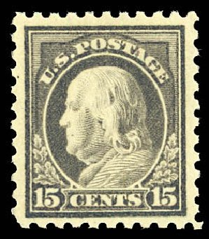 Costs of US Stamps Scott Cat. 475: 15c 1916 Franklin Perf 10. Daniel Kelleher Auctions, Dec 2012, Sale 633, Lot 847