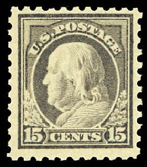US Stamp Prices Scott # 475: 15c 1916 Franklin Perf 10. Daniel Kelleher Auctions, Dec 2012, Sale 633, Lot 848