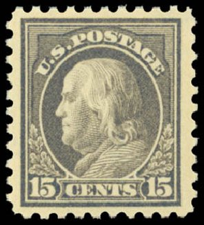 US Stamps Price Scott # 475 - 15c 1916 Franklin Perf 10. Daniel Kelleher Auctions, Sep 2014, Sale 655, Lot 518