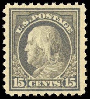 US Stamps Price Scott # 475 - 15c 1916 Franklin Perf 10. Daniel Kelleher Auctions, Sep 2014, Sale 655, Lot 518