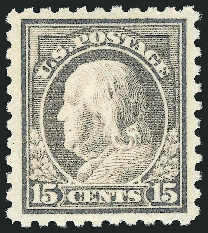 Values of US Stamp Scott # 475: 1916 15c Franklin Perf 10. Robert Siegel Auction Galleries, Dec 2014, Sale 1090, Lot 1538