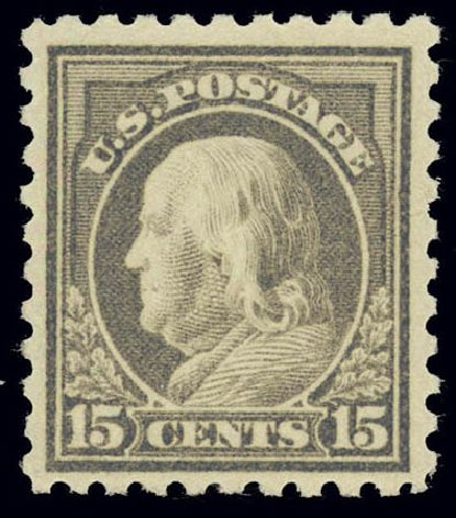 US Stamps Value Scott Cat. # 475: 15c 1916 Franklin Perf 10. Daniel Kelleher Auctions, Feb 2013, Sale 634, Lot 300