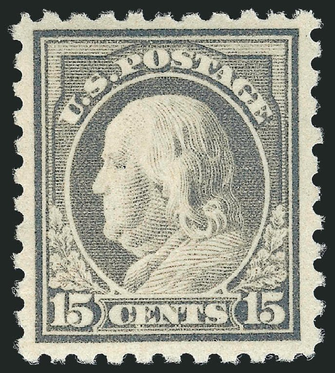 US Stamp Values Scott Catalogue #475 - 15c 1916 Franklin Perf 10. Robert Siegel Auction Galleries, May 2013, Sale 1044, Lot 290