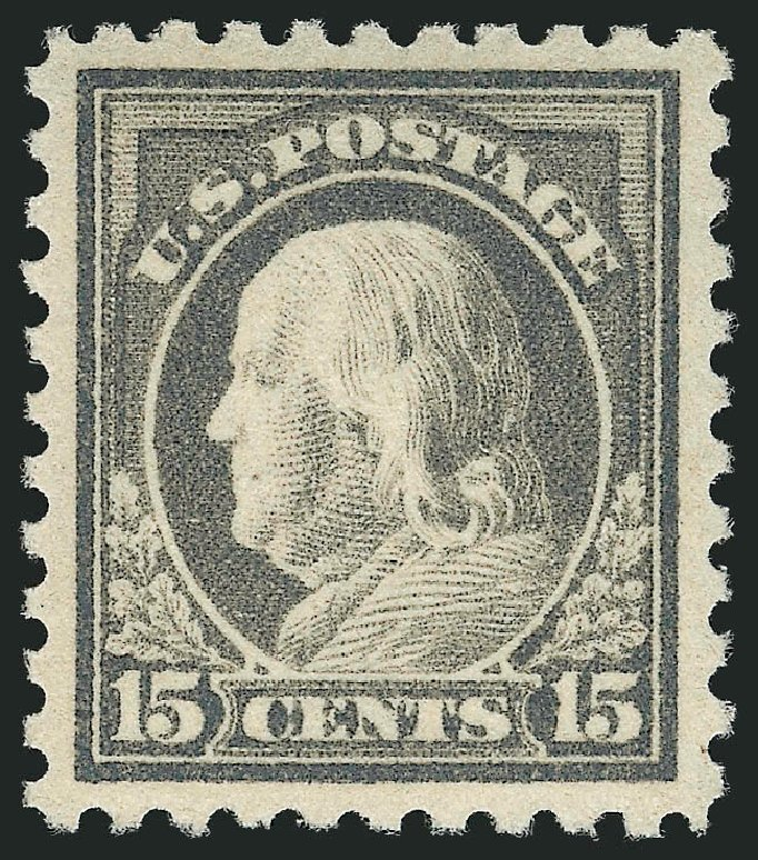 US Stamp Prices Scott Cat. 475 - 15c 1916 Franklin Perf 10. Robert Siegel Auction Galleries, Feb 2015, Sale 1092, Lot 1340