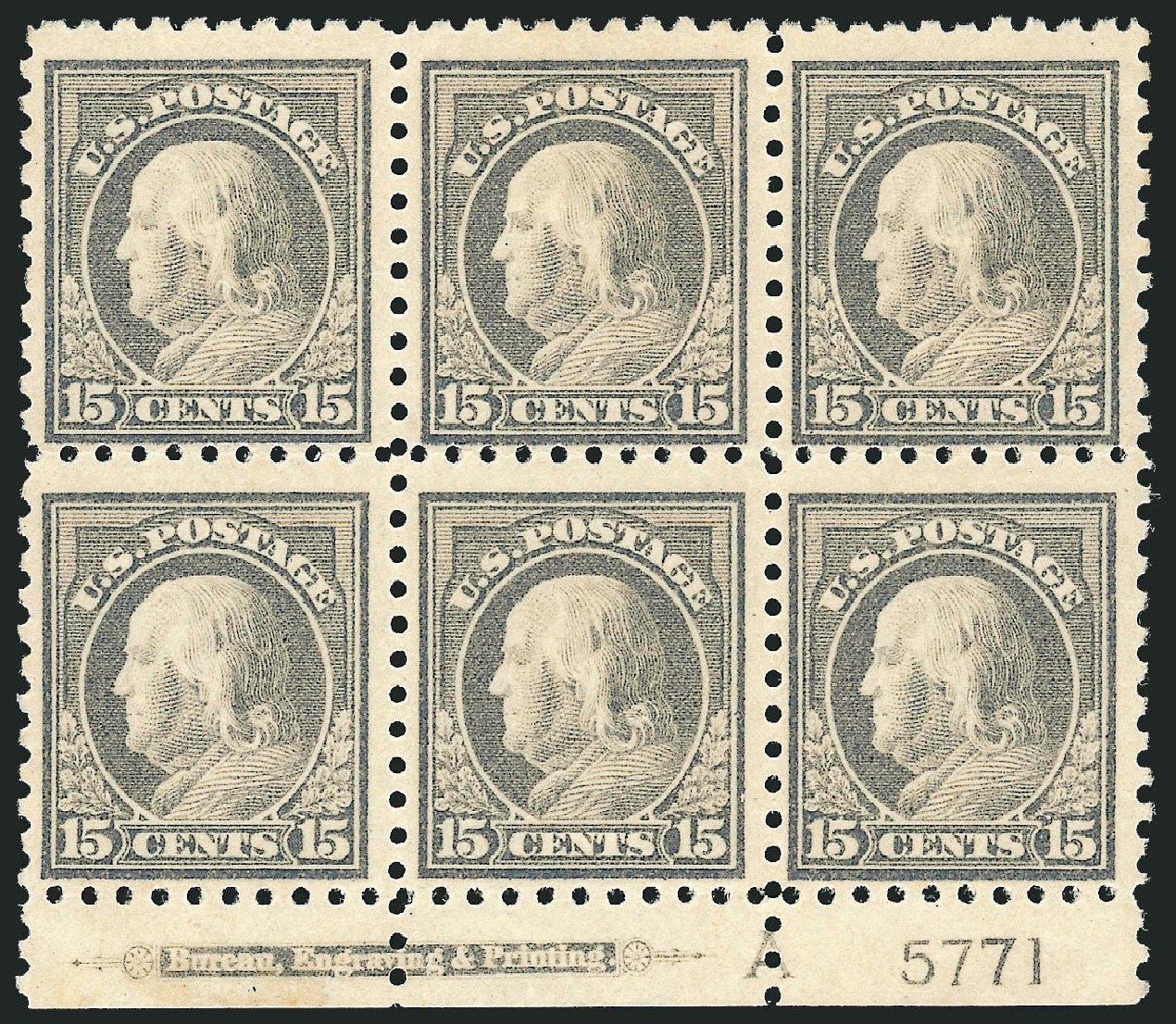 Prices of US Stamp Scott Cat. # 475: 1916 15c Franklin Perf 10. Robert Siegel Auction Galleries, Jul 2014, Sale 1077, Lot 291