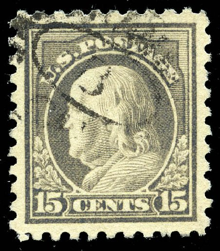 US Stamp Values Scott Catalogue 475 - 15c 1916 Franklin Perf 10. Matthew Bennett International, May 2014, Sale 350, Lot 622