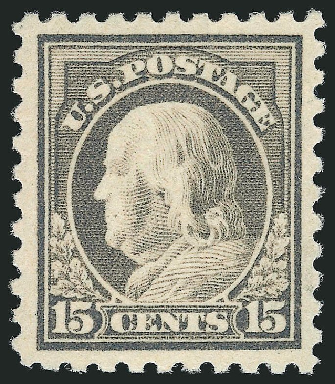 US Stamp Values Scott Catalog 475: 15c 1916 Franklin Perf 10. Robert Siegel Auction Galleries, Apr 2014, Sale 1068, Lot 283