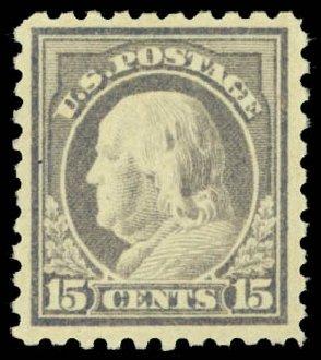 US Stamp Value Scott Catalogue #475 - 1916 15c Franklin Perf 10. Daniel Kelleher Auctions, Dec 2014, Sale 661, Lot 386