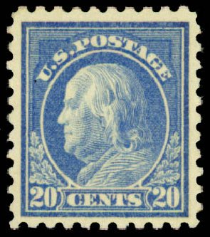 US Stamp Values Scott 476 - 1916 20c Franklin Perf 10. Daniel Kelleher Auctions, May 2015, Sale 669, Lot 3058